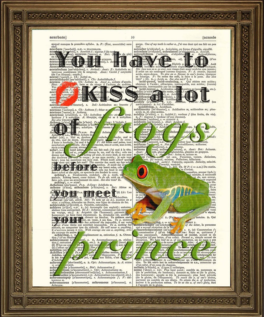 KISS FROGS PRINT: Fun Vintage Dictionary Art Print - The Print Arcade