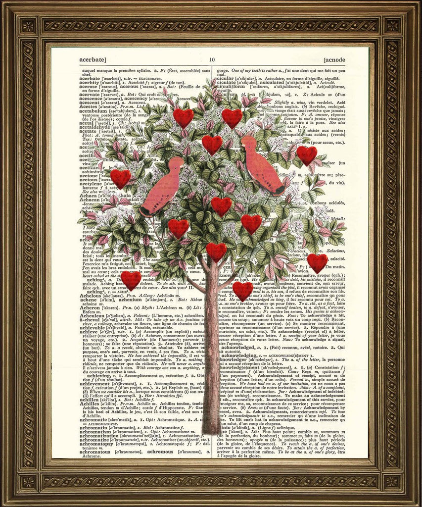 LOVE HEART TREE: Vintage Dictionary Page Art Print - The Print Arcade