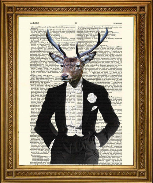 DINNER PARTY DEER: Stylish Stag Dictionary Art Print - The Print Arcade