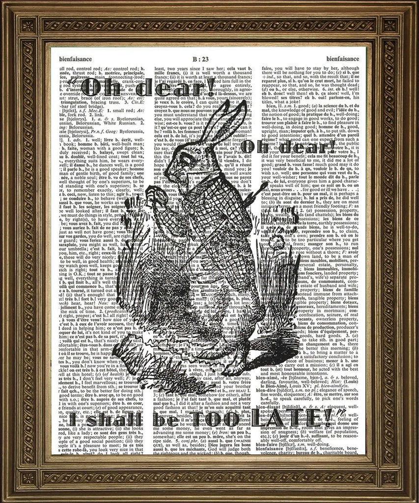 WHITE RABBIT LATE! Alice Dictionary Page Art Print - The Print Arcade