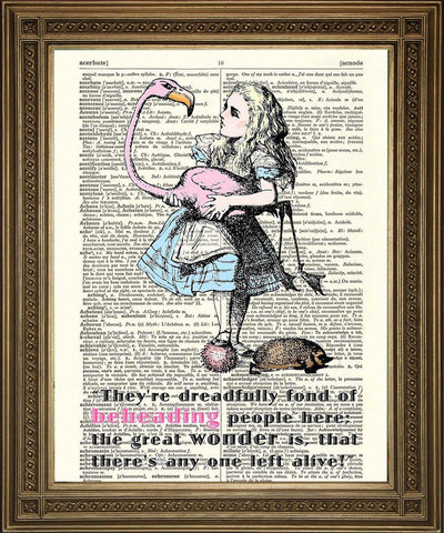 ALICE IN WONDERLAND ART: Flamingo Dictionary Print - The Print Arcade
