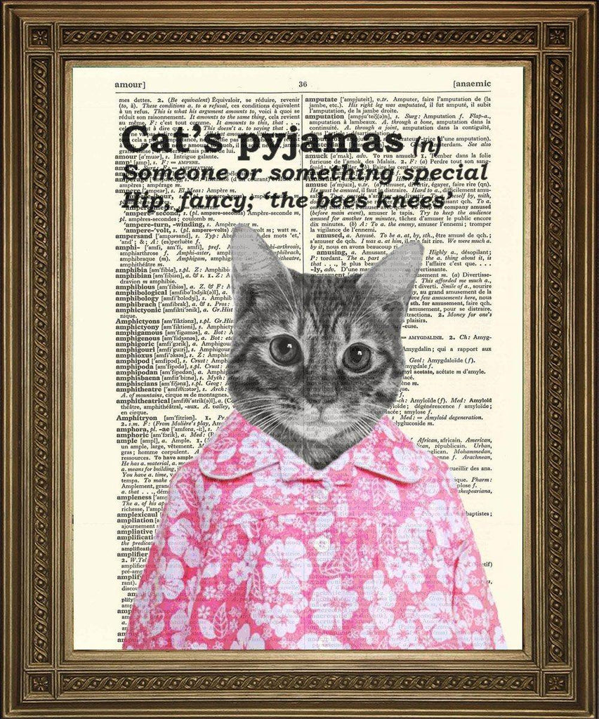 CAT'S PYJAMAS: Humorous Vintage Dictionary Print - The Print Arcade