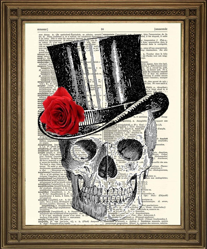 SKULL IN HAT PRINT: Vintage Dictionary Page Death Art - The Print Arcade