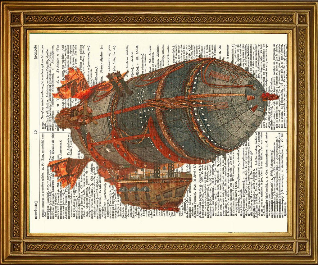 STEAMPUNK FLYING AIRSHIP: Dictionary Page Art Print - The Print Arcade