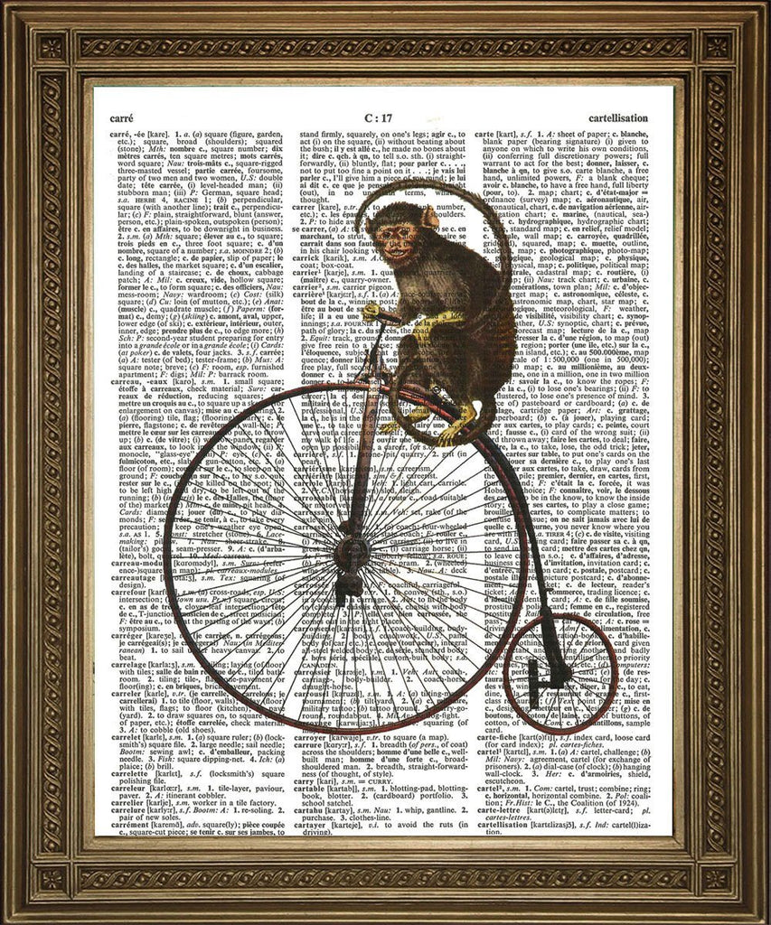 PENNY FARTHING MONKEY: Vintage Dictionary Art Print - The Print Arcade