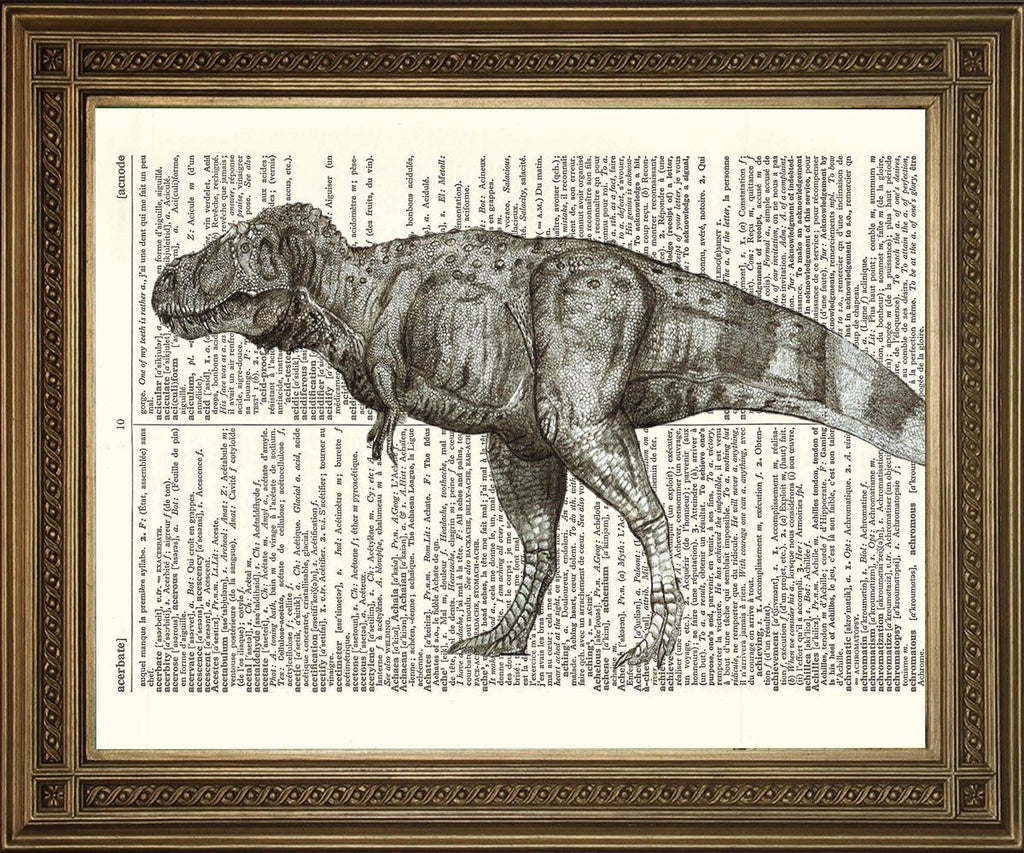 T-REX DICTIONARY PRINT: Dinosaur Art Illustration - The Print Arcade