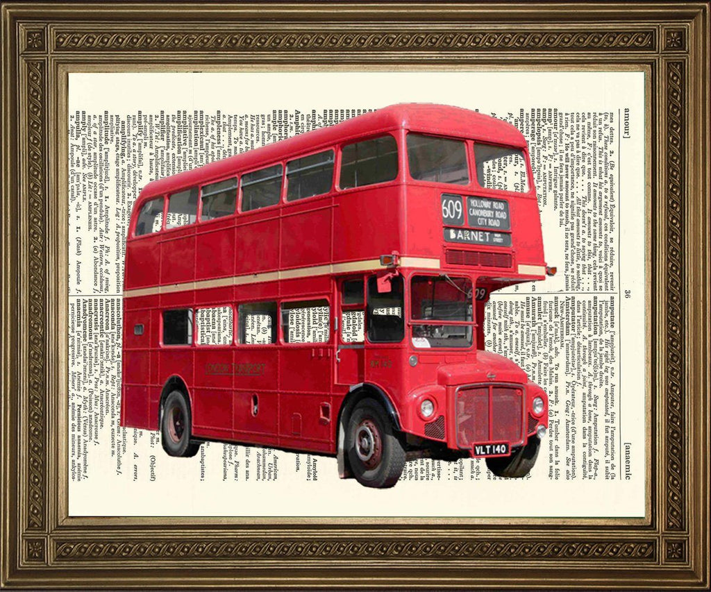 RED LONDON BUS: Traditional Routemaster Dictionary Print - The Print Arcade