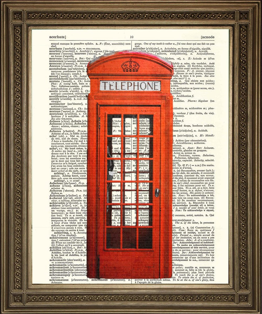 RED TELEPHONE BOX: Traditional British Phone Booth Dictionary Print - The Print Arcade