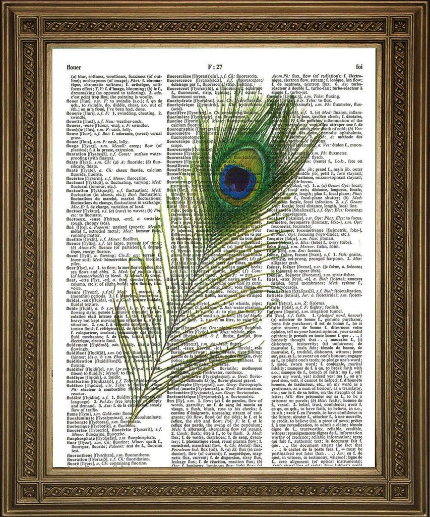 GREEN PEACOCK FEATHER: Vintage Dictionary Art Print - The Print Arcade