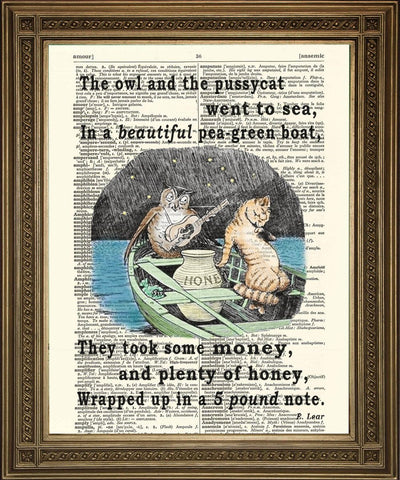OWL AND PUSSYCAT PRINT: Lear Poem Dictionary Art - The Print Arcade