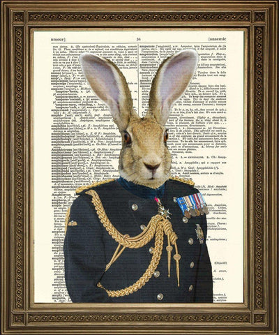 HARE SOLDIER GENERAL: Army Rabbit Dictionary Art Print - The Print Arcade
