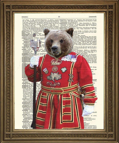 BEEFEATER BEAR: Tower of London Guard Dictionary Print - The Print Arcade