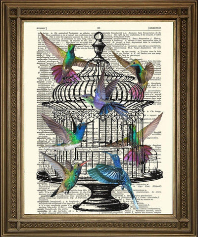 HUMMING BIRDS AND CAGE PRINT: Vintage Dictionary Page Art - The Print Arcade