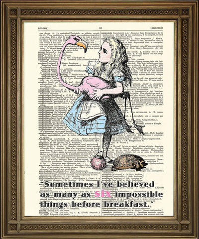 SIX IMPOSSIBLE THINGS: Alice in Wonderland Dictionary Art Print - The Print Arcade