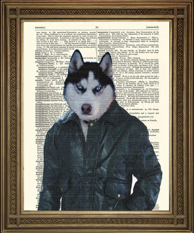 HUSKY DOG PRINT: Animal Dictionary Art - The Print Arcade