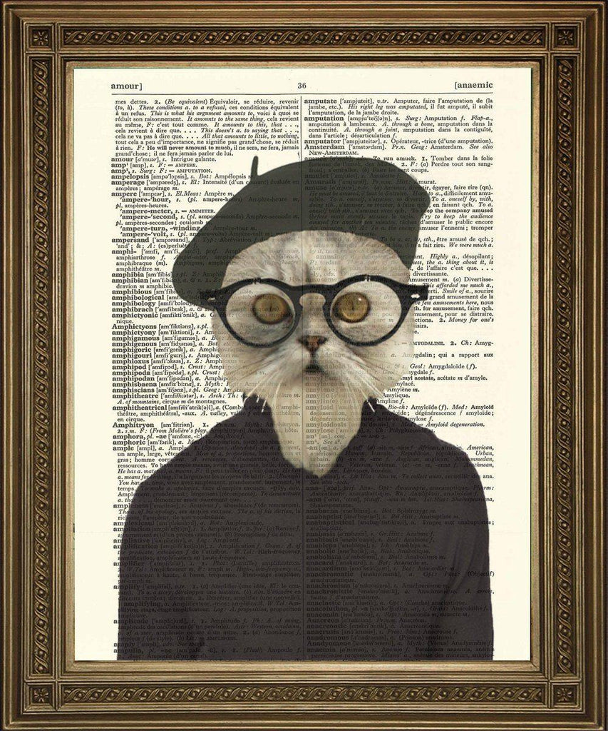 HIPSTER CAT PRINT: Fun Beatnik Dictionary Page Art - The Print Arcade