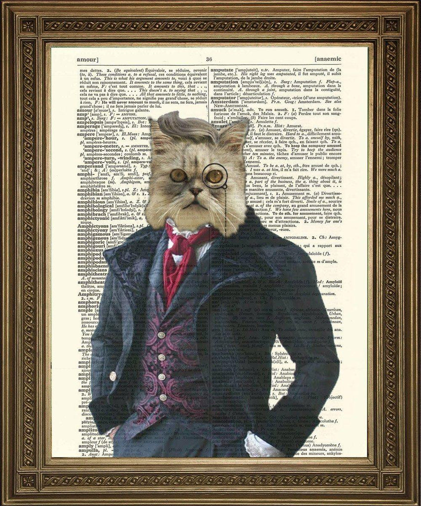 DANDY VICTORIAN CAT: Fun Dictionary Art Print - The Print Arcade
