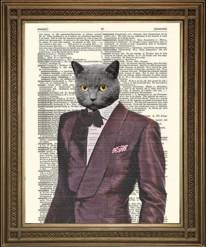 1970s COOL CAT PRINT: Velvet Purple Suit Dictionary Art - The Print Arcade