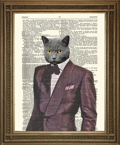 1970s COOL CAT PRINT: Velvet Purple Suit Fun Dictionary Art - The Print Arcade