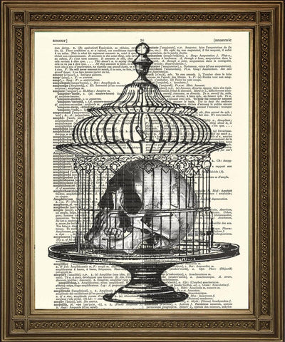 SKULL IN BIRDCAGE: Vintage Dictionary Page Death Art Print - The Print Arcade