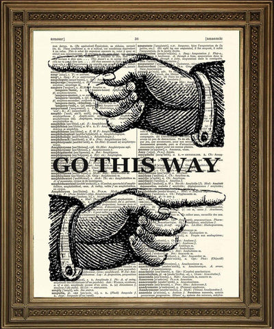 FINGER POINTING PRINT: Dictionary Art Wall Hanging - The Print Arcade