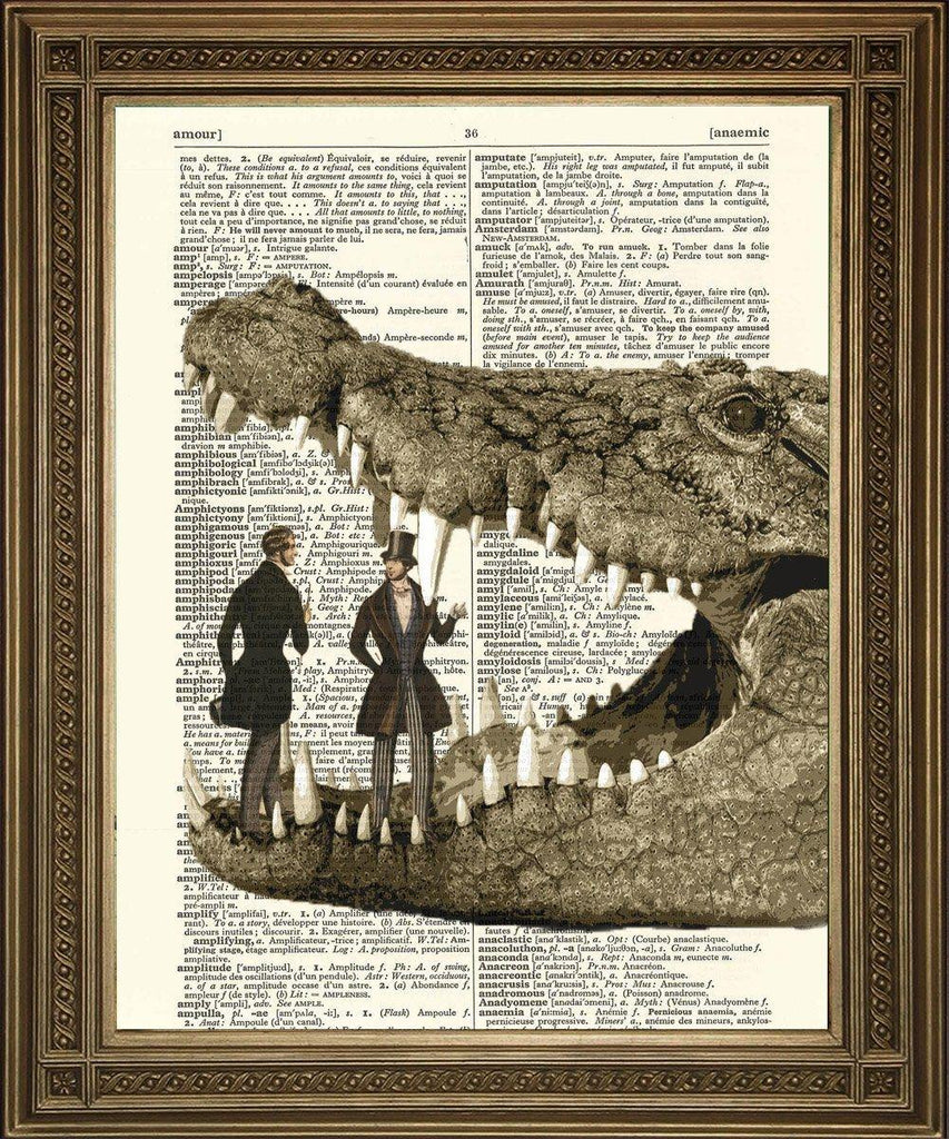 GIANT CROCODILE PRINT: With Unsuspecting Victorian Gentlemen - The Print Arcade