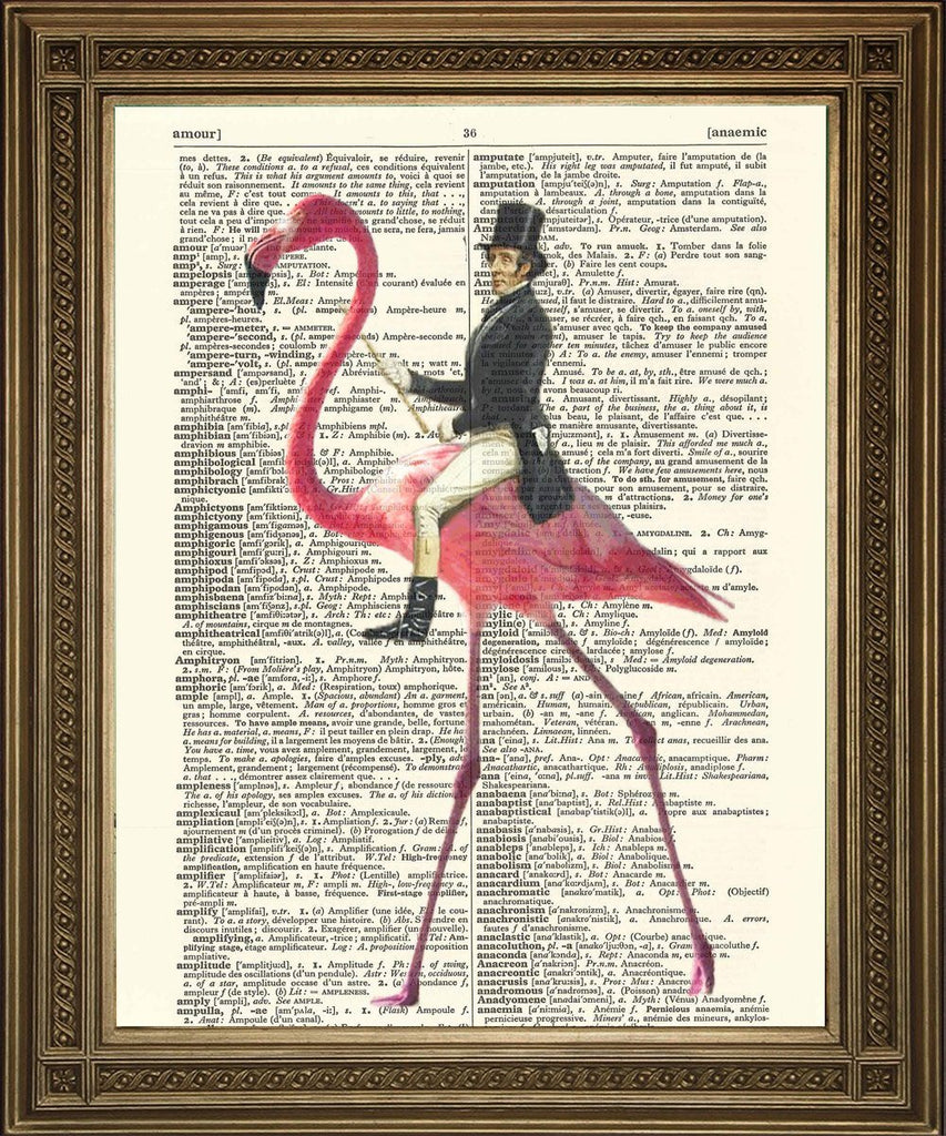 MAN RIDING FLAMINGO: Victorian on Pink Bird Dictionary Print - The Print Arcade