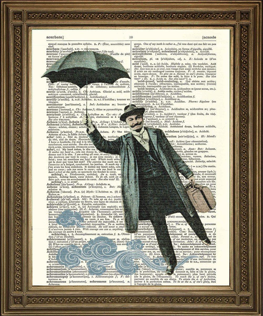 FLYING MAN PRINT: Surreal Frenchman with Umbrella, Dictionary Art - The Print Arcade