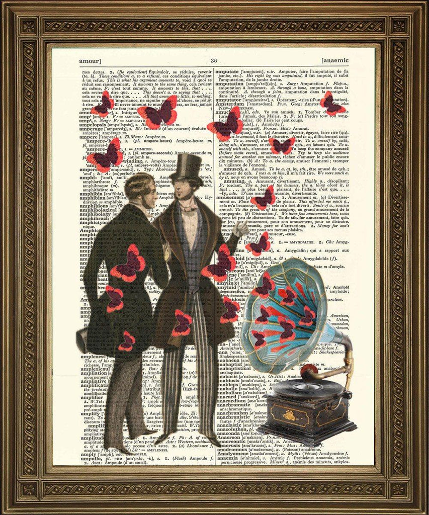 GRAMOPHONE & BUTTERFLIES With Victorian Gentlemen: Dictionary Print - The Print Arcade
