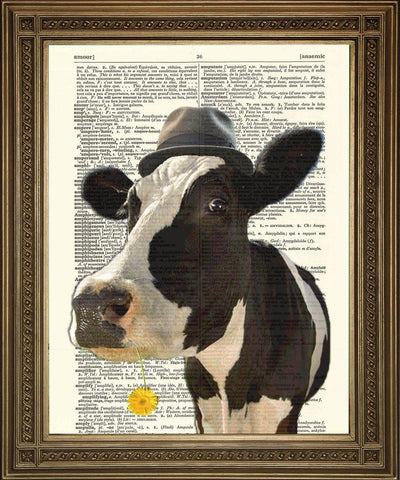 COW PRINT: 'Pink Floyd' Cow Dictionary Art - The Print Arcade