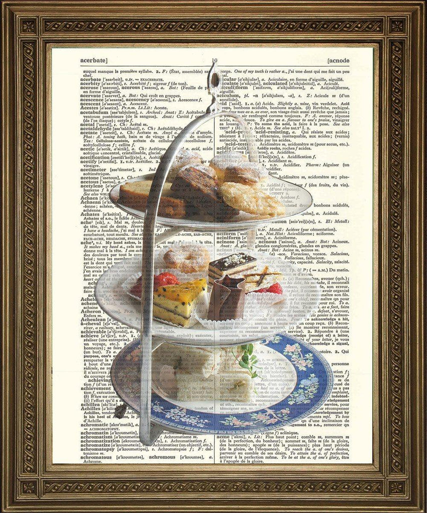 AFTERNOON TEA CAKE STAND: Vintage Dictionary Print - The Print Arcade