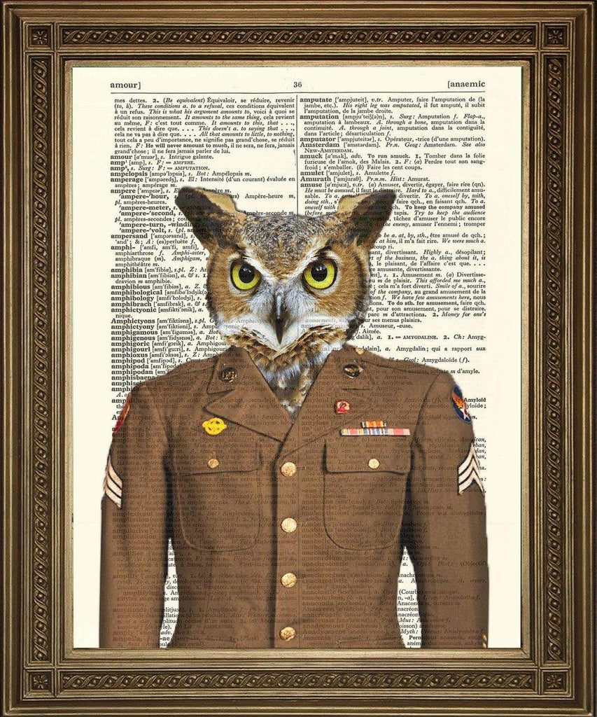 ARMY OWL PRINT: Fun Military Bird Dictionary Art - The Print Arcade