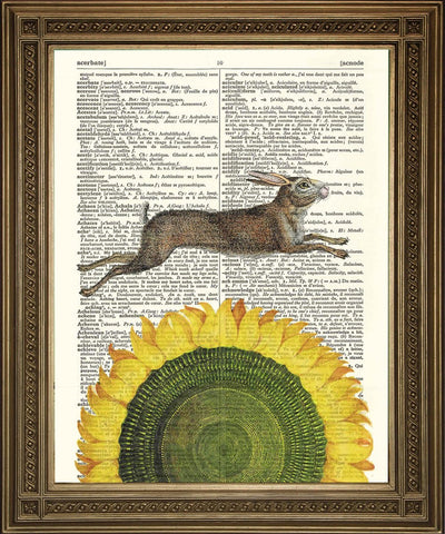 SPRING HARE & SUNFLOWER: Yellow Dictionary Page Art Print - The Print Arcade