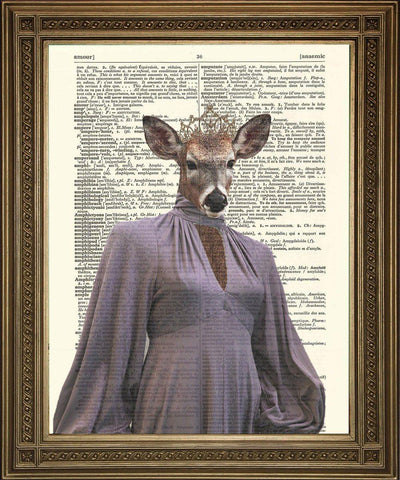 DINNER PARTY DOE: Animal Evening Wear Dictionary Art Print - The Print Arcade