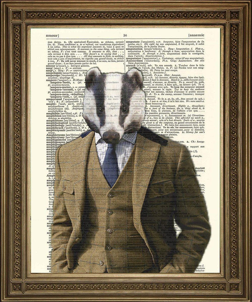 BADGER COUNTRY GENT: Dictionary Art Print - The Print Arcade