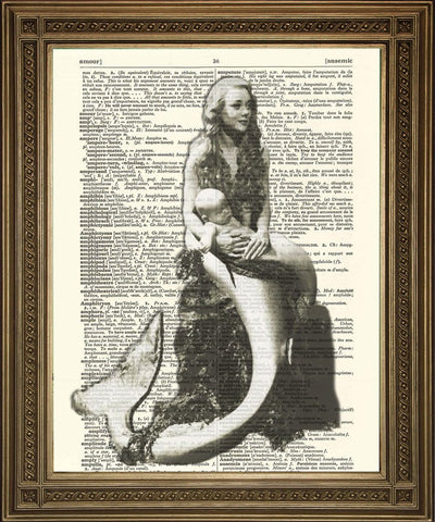 MERMAID ART PRINT: Black and White Lady with Baby, Dictionary Art - The Print Arcade