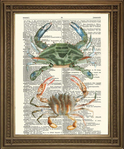 CRAB ART: Vintage Dictionary Print Wall Hanging - The Print Arcade