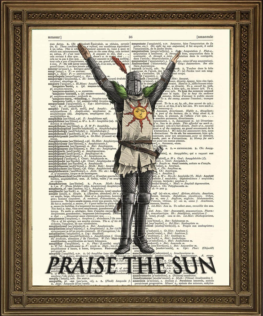 PRAISE THE SUN: Dark Souls Dictionary Page Art Print - The Print Arcade
