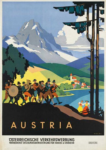 AUSTRIA TRAVEL POSTER: Vintage Alpine Mountain Advert