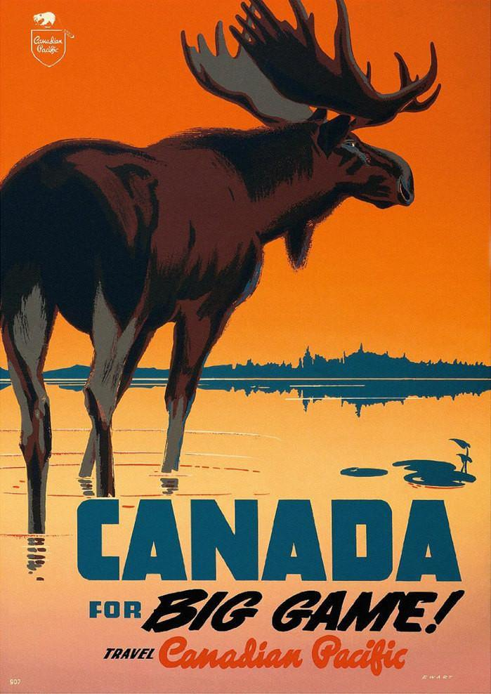 CANADA TRAVEL POSTER: Vintage Big Game Advert