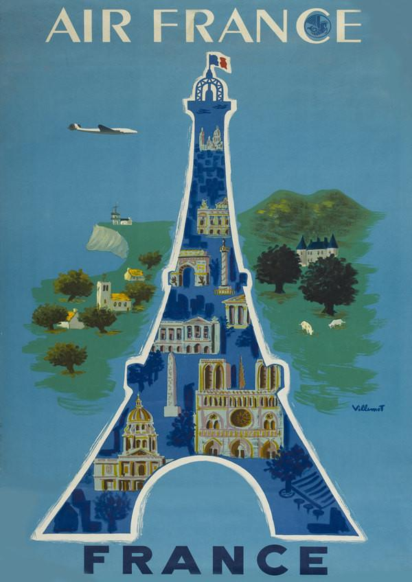 PARIS TRAVEL POSTER: Vintage French Eiffel Tower Print - The Print Arcade