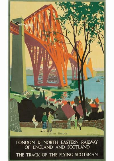 SCOTLAND TRAVEL POSTER: Vintage Forth Bridge Print - The Print Arcade