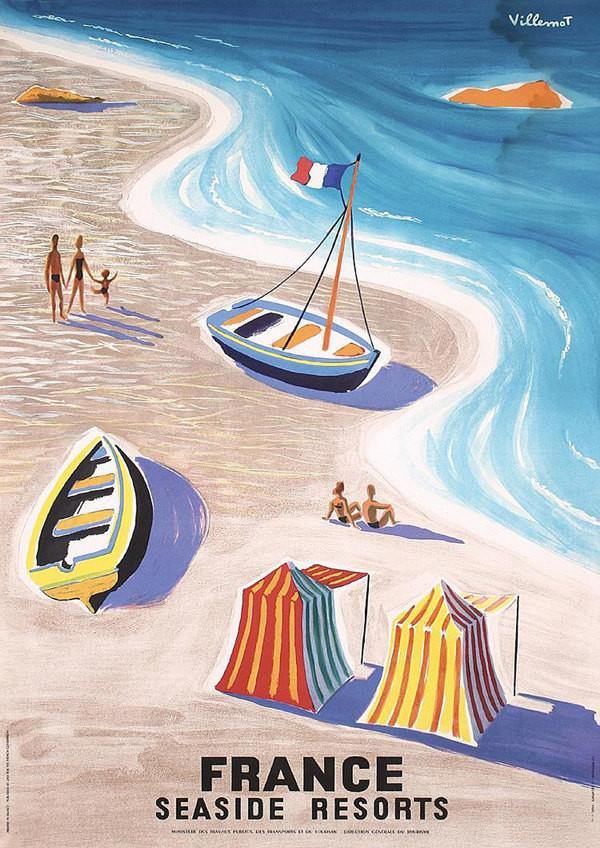 FRANCE TRAVEL POSTER: Vintage French Seaside Advert, Art Print - The Print Arcade