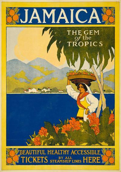 JAMAICA TRAVEL POSTER: Vintage Tropical Advert Art Print