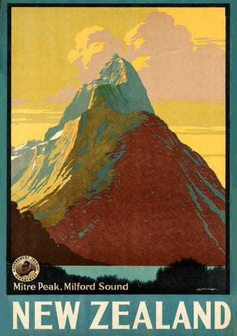 NEW ZEALAND POSTER: Vintage Mountain Travel Print - The Print Arcade