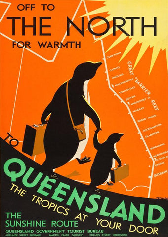 QUEENSLAND TRAVEL POSTER: Vintage Penguin Print - The Print Arcade