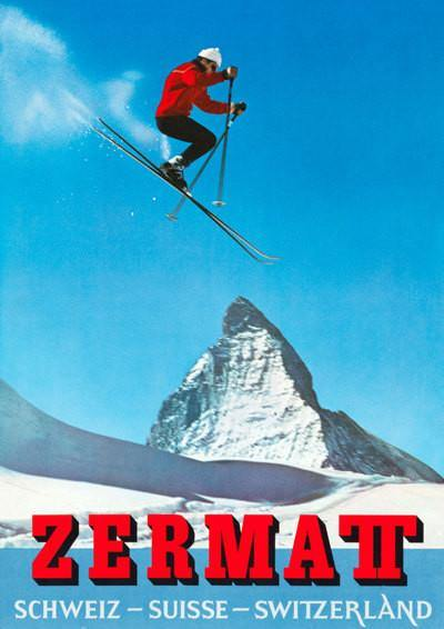 SKI TRAVEL POSTER: Zermatt Matterhorn Travel Print - The Print Arcade