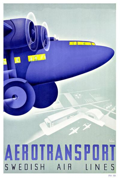 SWEDEN TRAVEL POSTER: Vintage Blue Aeroplane Print - The Print Arcade