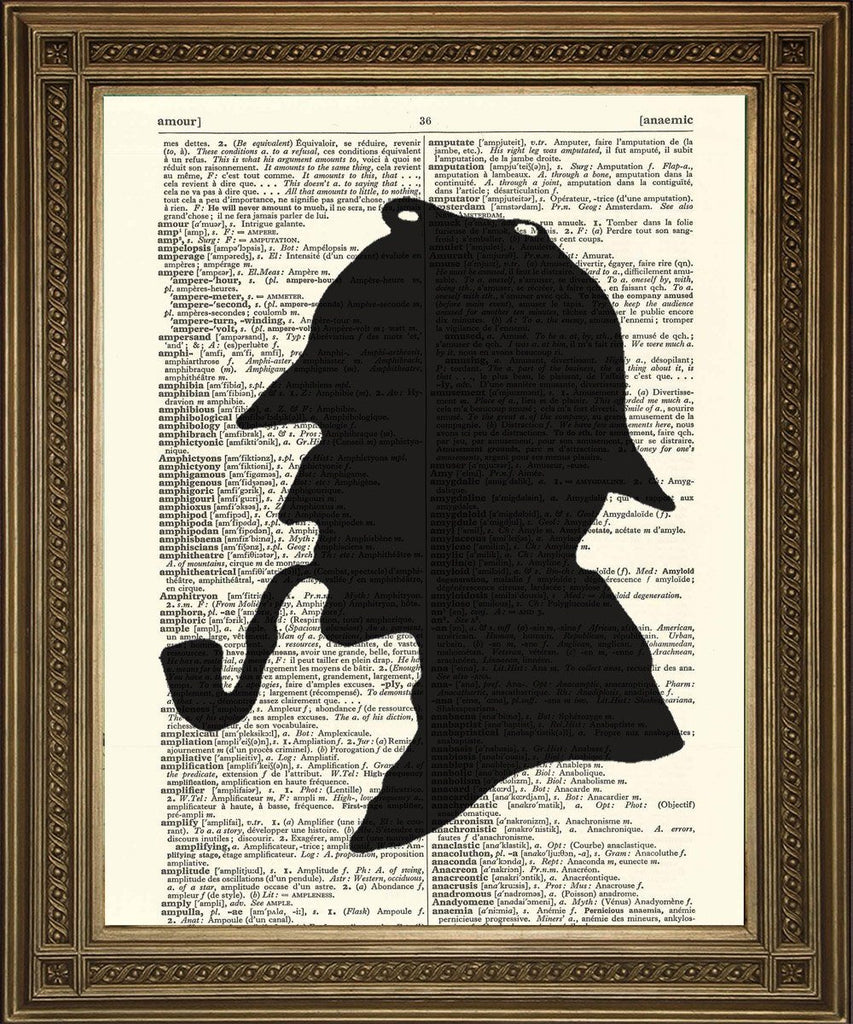 "SHERLOCK HOLMES SILHOUETTE: Famous Detective Dictionary Art Print Wall Hanging (8 x 10"") - The Print Arcade"