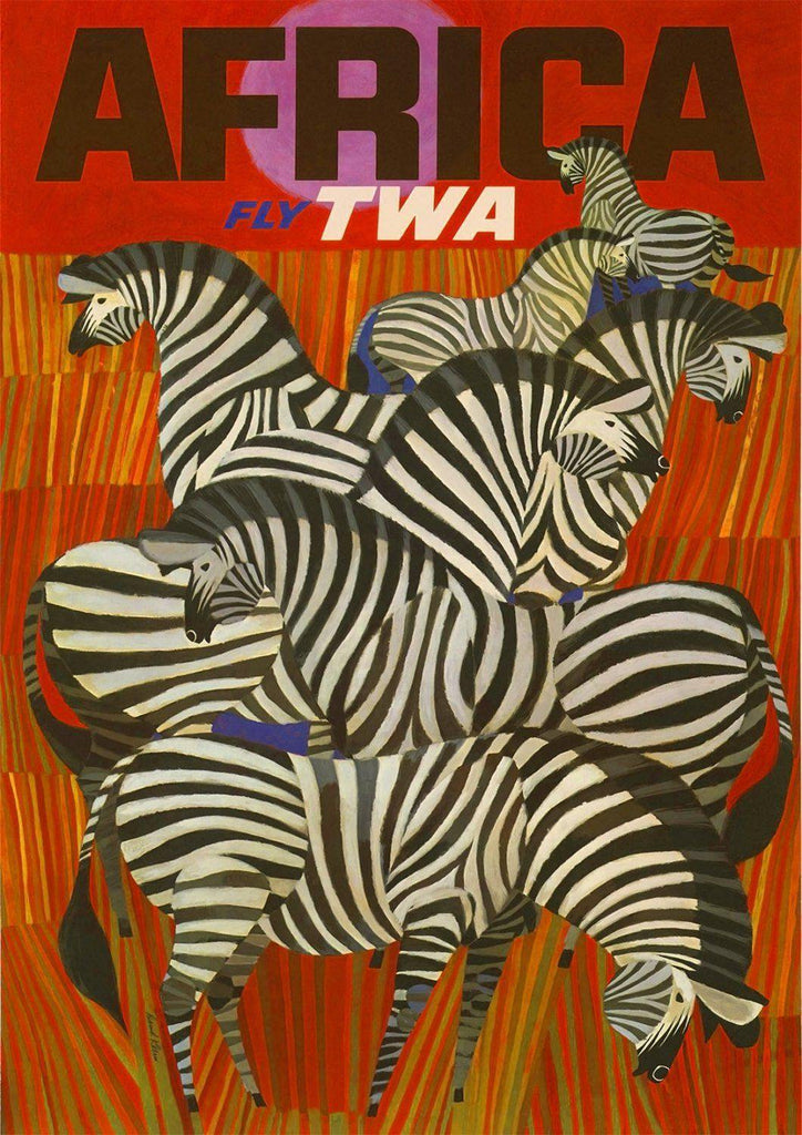 AFRICA ZEBRA POSTER: Vintage Travel Advert Art Print - The Print Arcade